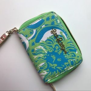 Lily Pulitzer small zip wallet in green & blue